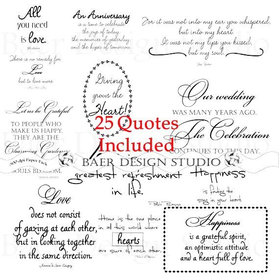 LOVE QUOTES Digital Word Art For Weddings, Anniversaries, Valentines Day,  Cards, Scrapbooking