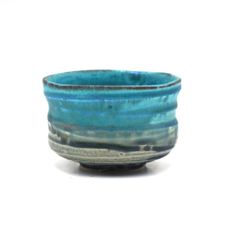 Photo of Japanese Handcrafted Tenku Blue Matcha Chawan Green Tea Bowl – Shizen Cha