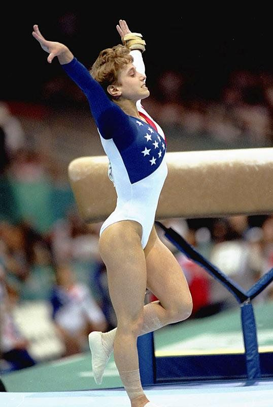 KERRI STRUG 1996 Olympics - With her left ankle heavily taped after tearing  two ligaments just minutes before, Kerri makes a Courageous second vaul…
