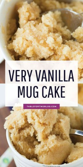 The moistest very vanilla mug cake is like a fluffy vanilla cupcake in a mug! Recipe on tablefortwoblog.com #mugcake #vanillamugcake #vanillacake #cakeinamug #vanilla #proteinmugcakes The moistest very vanilla mug cake is like a fluffy vanilla cupcake in a mug! Recipe on tablefortwoblog.com #mugcake #vanillamugcake #vanillacake #cakeinamug #vanilla #proteinmugcakes