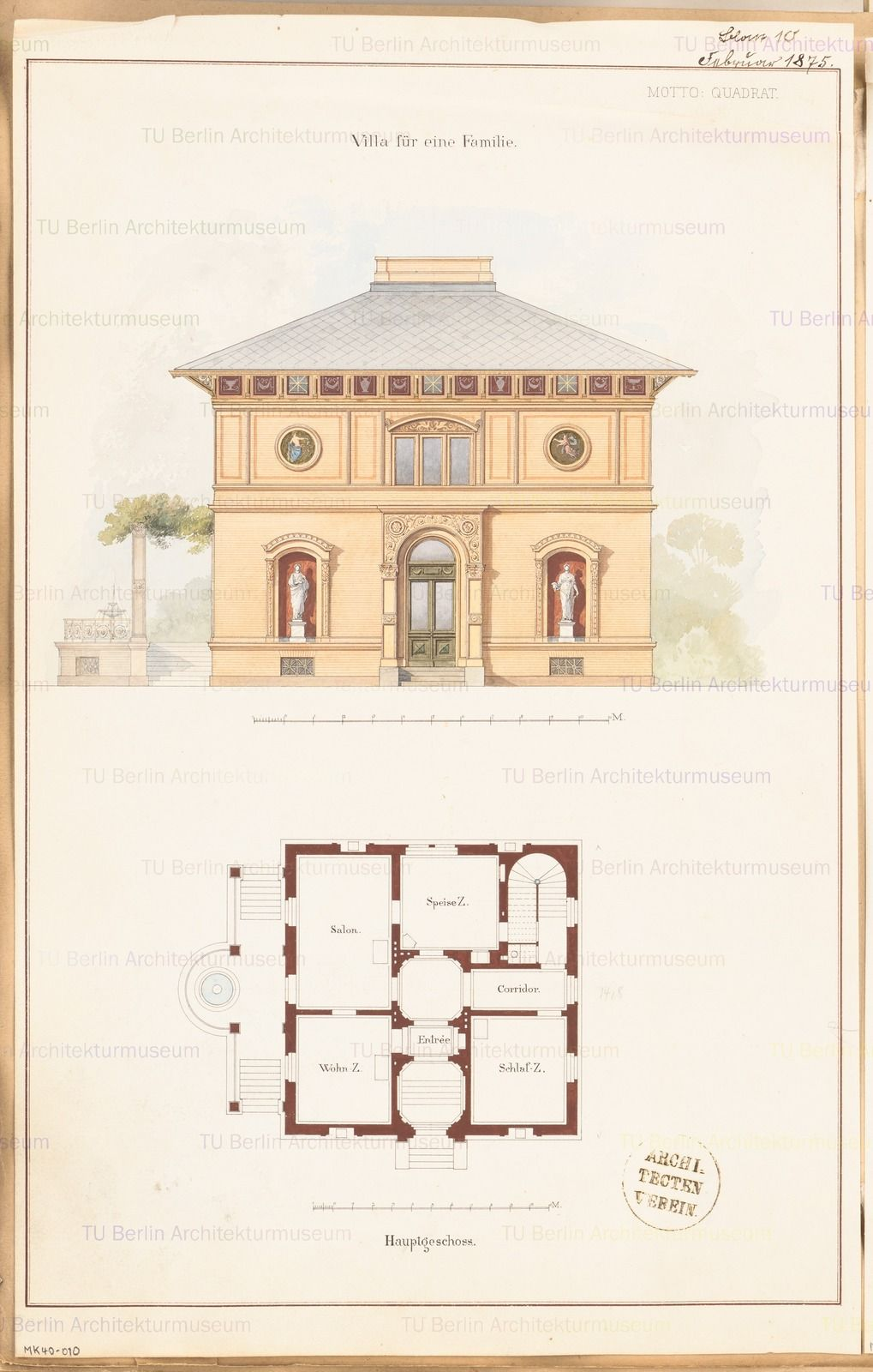 Villa. Monatskonkurrenz Februar 1875 Architecture