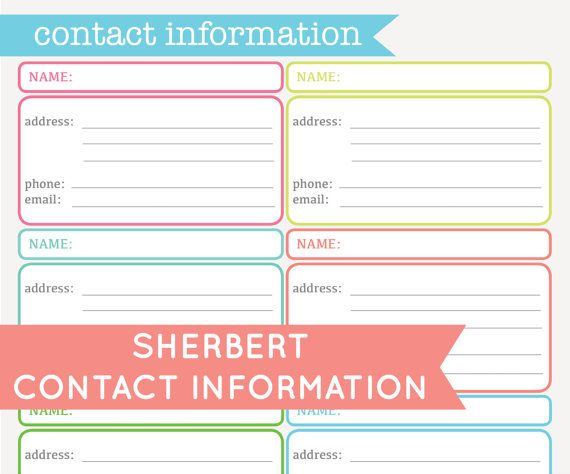 Contact Information Address Sheet - Printable PDF INSTANT DOWNLOAD ...