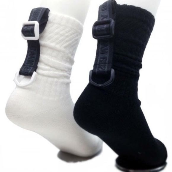 M.Y.O.B Tape Socks (White) Used once for a shoot. One Size. #socks #footwear #streetwear #boots #sportswear #accessories #edgy #timbs #timberland #boots #shoes M.Y.O.B Accessories Hosiery & Socks