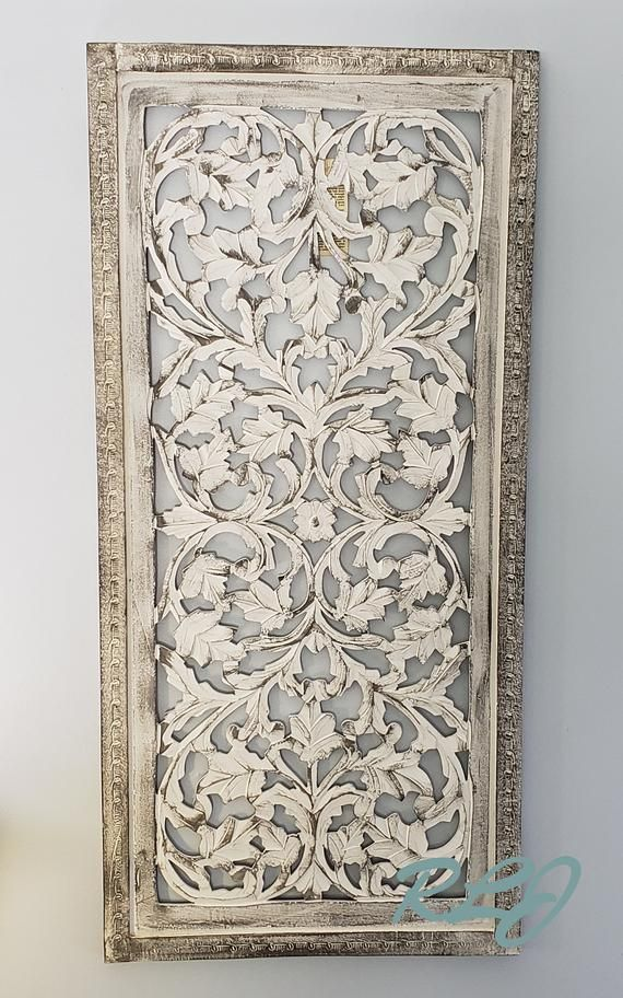Rustic Tuscan Shabby Chic White Washed Carved Wood Wall Art Panel Plaque Home Decor Carved Wood Wall Art Wood Wall Art Diy Tuscan Decorating
