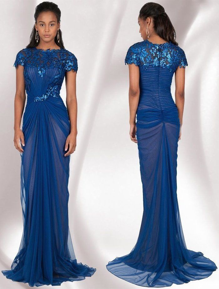 408 Tadashi Shoji Royal Blue Sequin Tulle Ruched Marina Gown 8