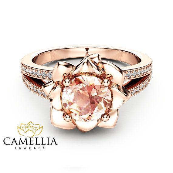 Morganite Flower Engagement Ring 14k Rose Gold Flower Etsy In 2021 Morganite Diamond Ring Black Hills Gold Jewelry 14k Engagement Ring