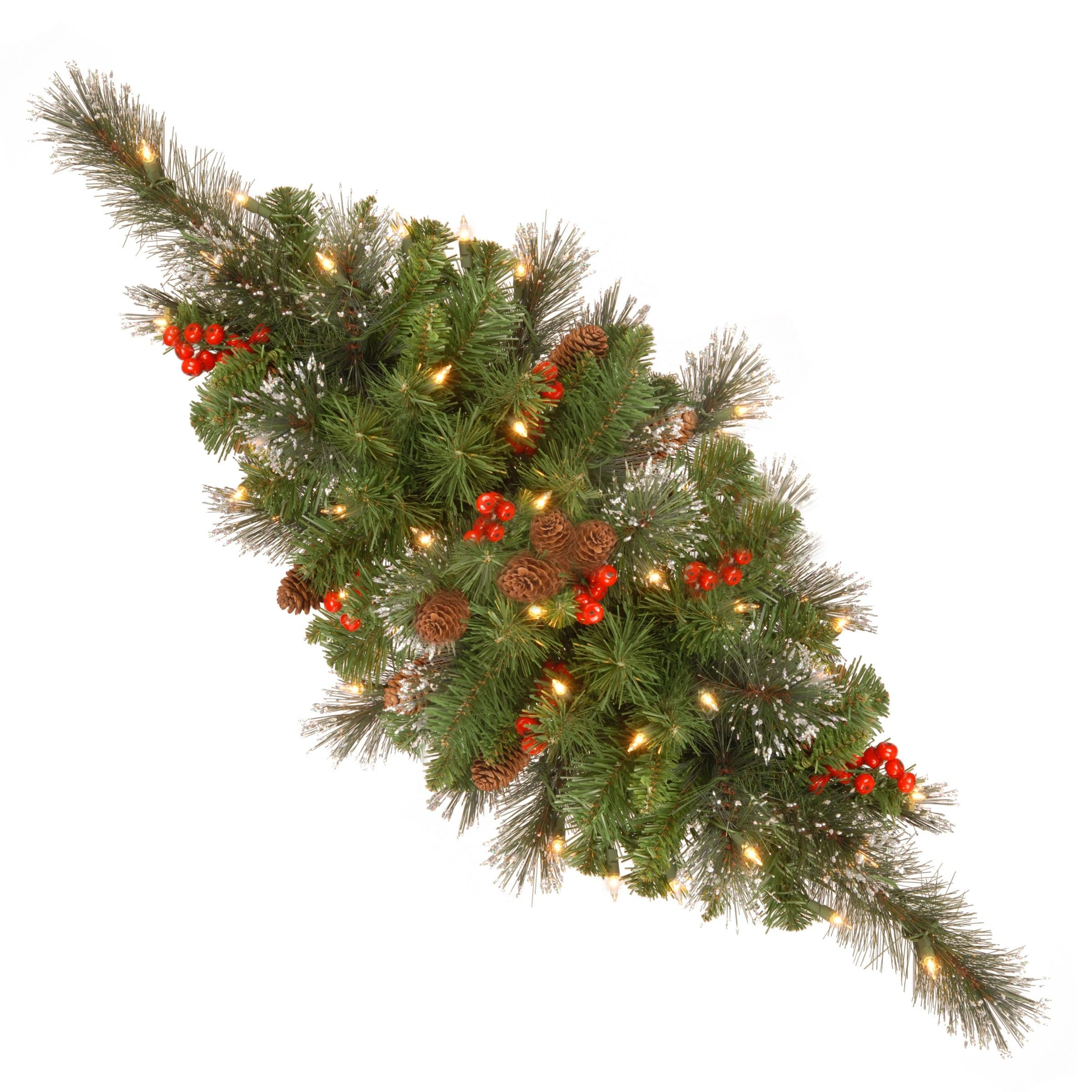 National Tree Company 30 Inch Crestwood Spruce Red Berries Silver Bristle