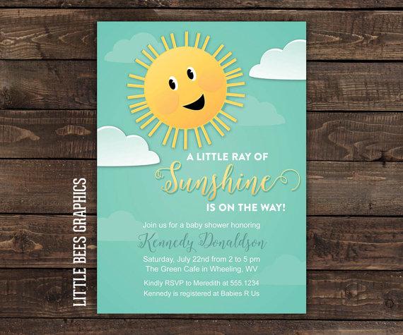 Printable Birthday Invitations For Boy ~ Sunshine baby shower invitation printable sun invite