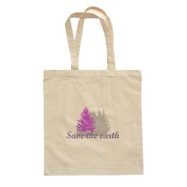 """APERICOTS """"SAVE THE EARTH"""" PRINT ON NATURAL CANVAS COTTON TOTE REUSUABLE GROCERY BAG ETC"""