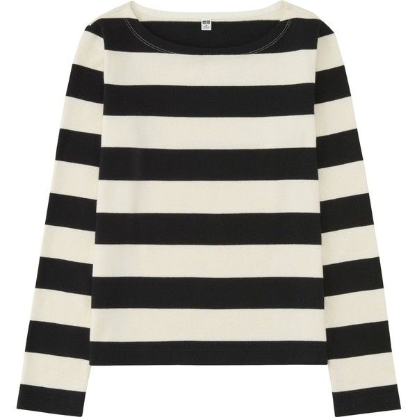 e9cb3031b8 UNIQLO Women Striped Boat Neck Long Sleeve T-Shirt (79 RON) ❤ liked on  Polyvore featuring tops, t-shirts, shirts, striped boatneck shirt, striped  tee, ...