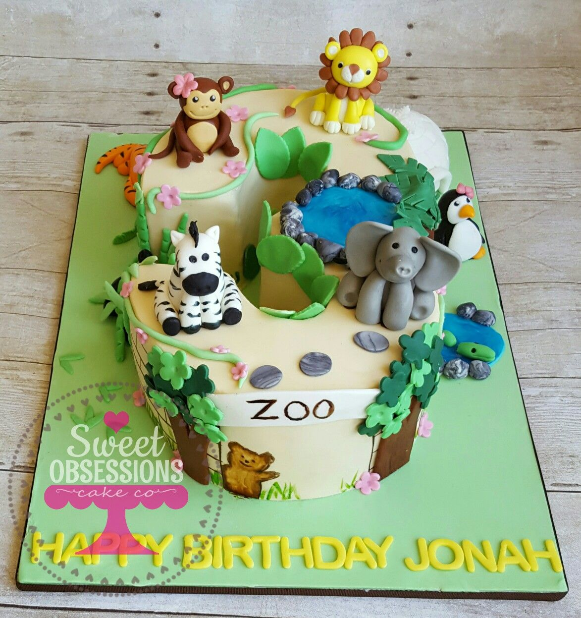 Number 3 Shaped Cake Zoo Theme With Images Zoo Birthday Cake