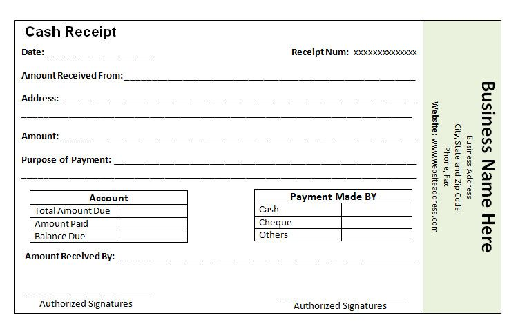 Cash Payment Receipt Template  The Proper Receipt Format For