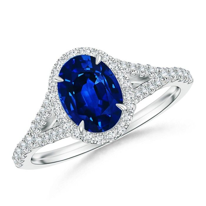 Angara Cathedral Set Blue Sapphire and Diamond Double Halo Ring h1tCGn