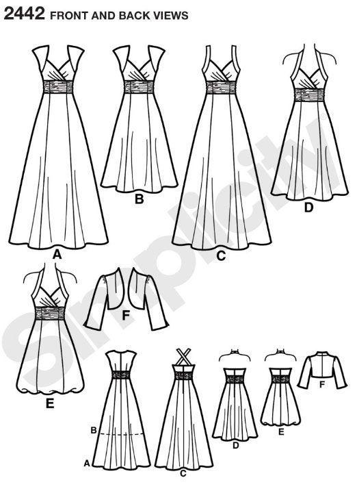 Simplicity Schnittmuster Abendkleid Kleid 2442   Hochzeitskleider ...