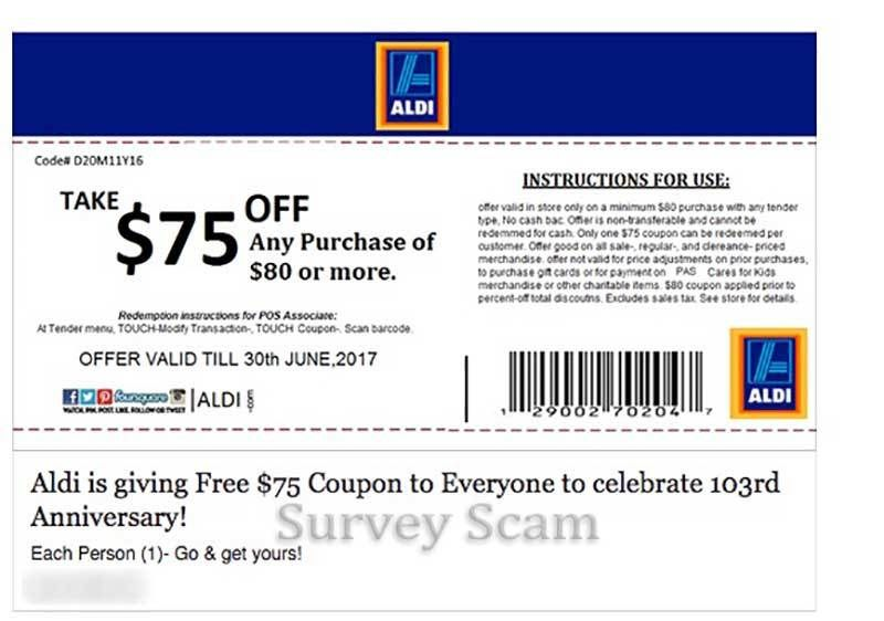 Aldi $75 Coupon Facebook Scam | Hoax-Slayer | Pinterest | Cards ...