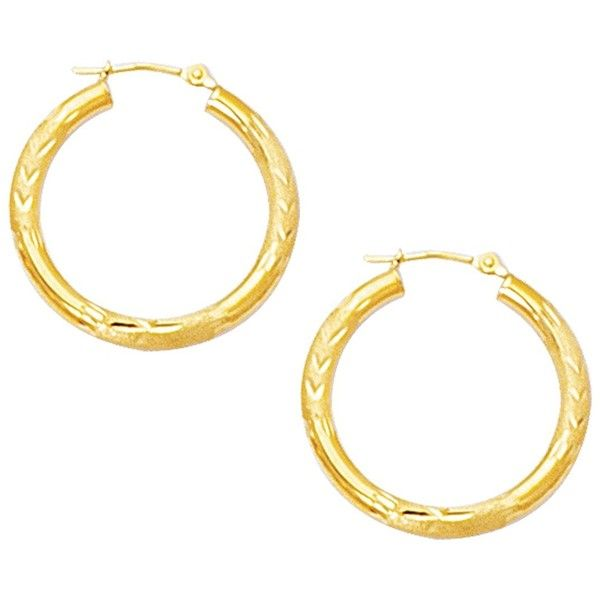 10K Yellow Gold 3.0mm (1/8) Textured Polished Open Round Tube Hoop... (€91) ❤ liked on Polyvore featuring jewelry, earrings, polishing gold jewelry, earring jewelry, gold jewelry, yellow gold hoop earrings and yellow gold jewelry