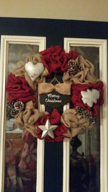 Just love the galvanized ornaments from Michael's had to use in a wreath