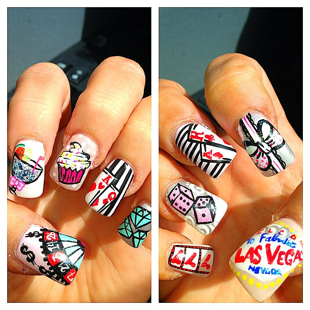 My Vegas Ready Birthday Girl Nails Thanks To Brook At Dj Nails Lakewood Nj Love Love Love Them Vegas Baby Vegas Nails Happy Nails Girls Nails