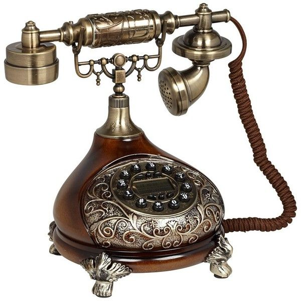 Antique Style Brass Cradle Telephone ($85) found on Polyvore