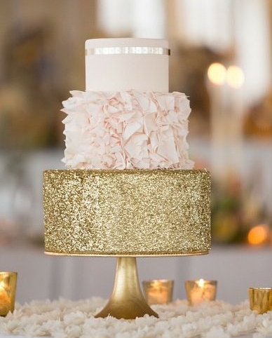 white wedding cake with gold glitter prettiest cake time pretty cakes 27412
