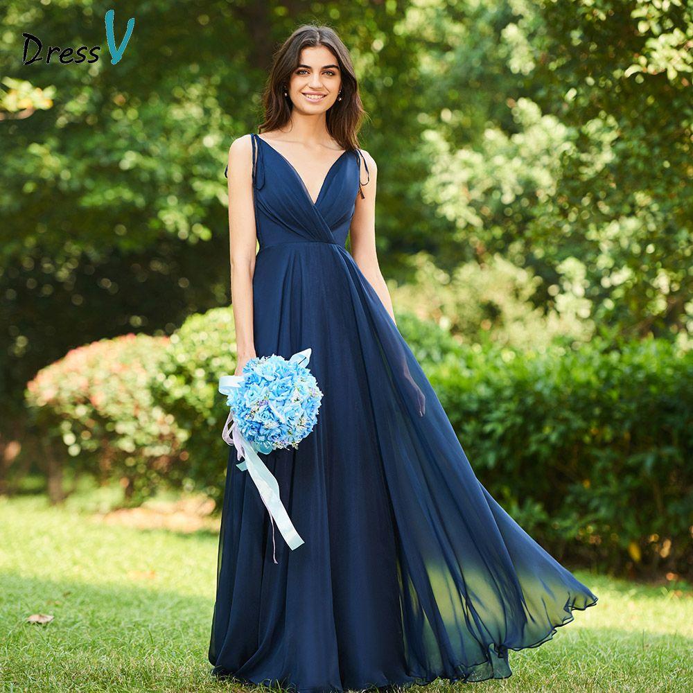 Dressv dark navy v neck a line bridesmaid dress zipper up backless