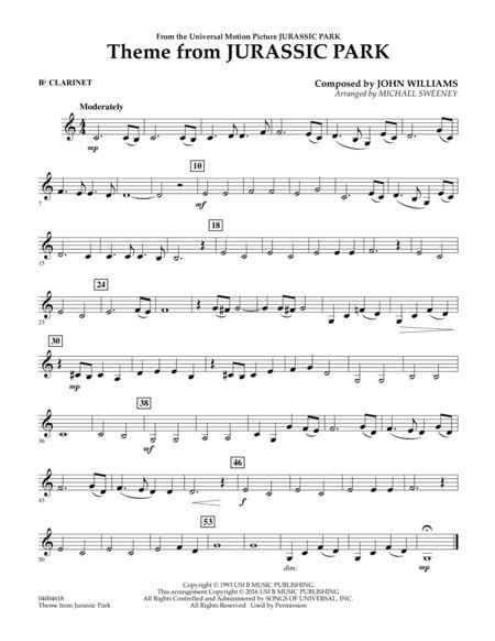 Theme From Jurassic Park Bb Clarinet With Images Clarinet