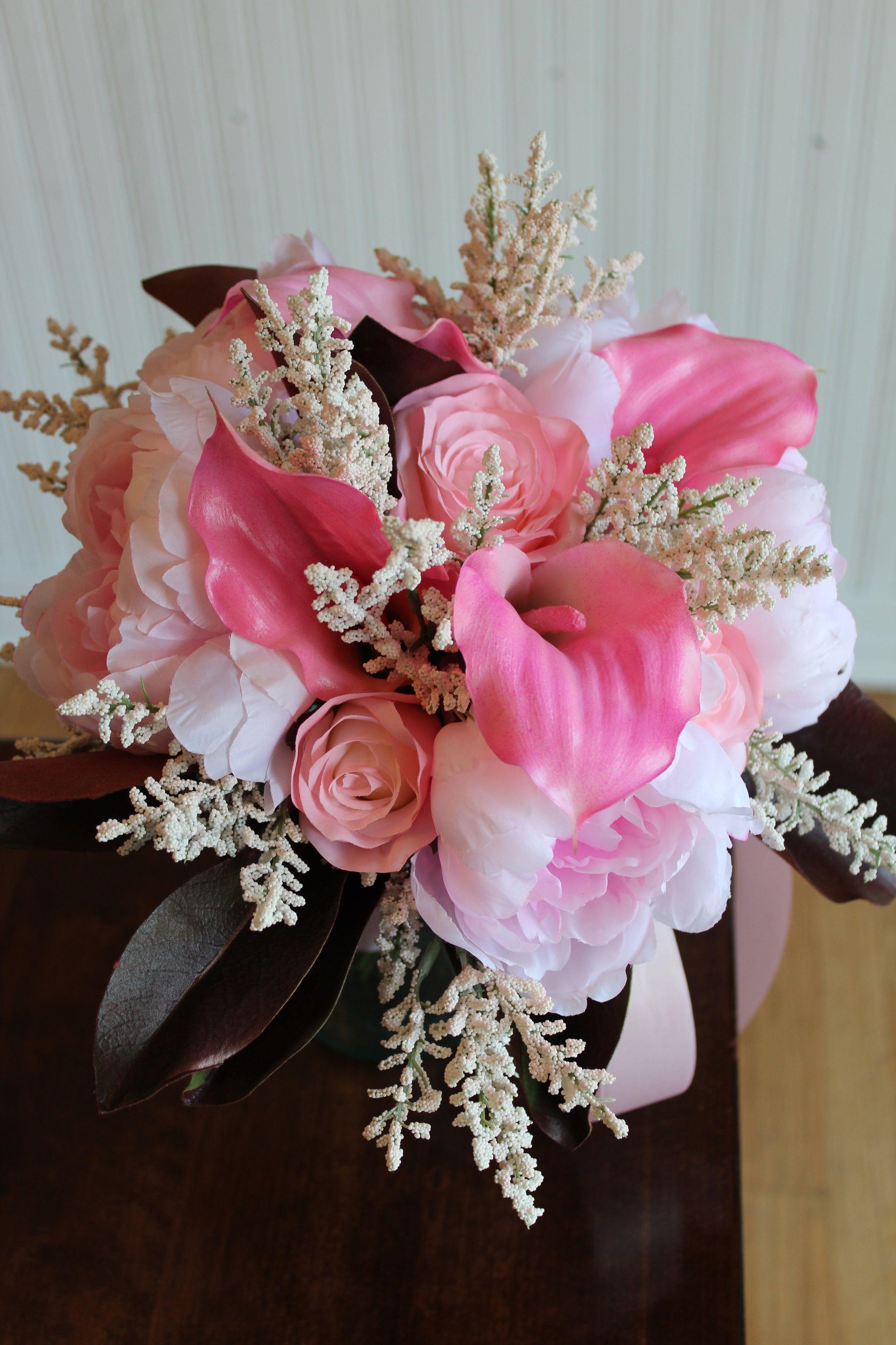 Blush Pink Bridal Bouquet Recreation in Silk Flowers