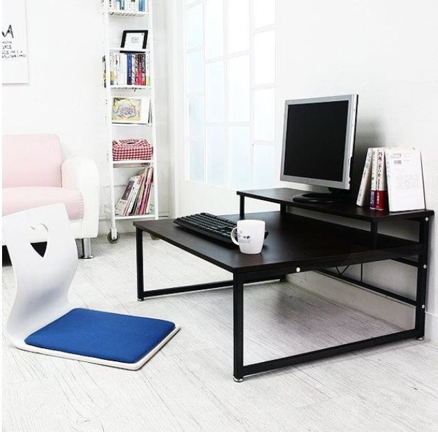 Low Laptop Computer Table Desk Floor Seating Pc Monitor Shelf Stand Riser Ebay Floor Desk Small House Interior Floor Seating