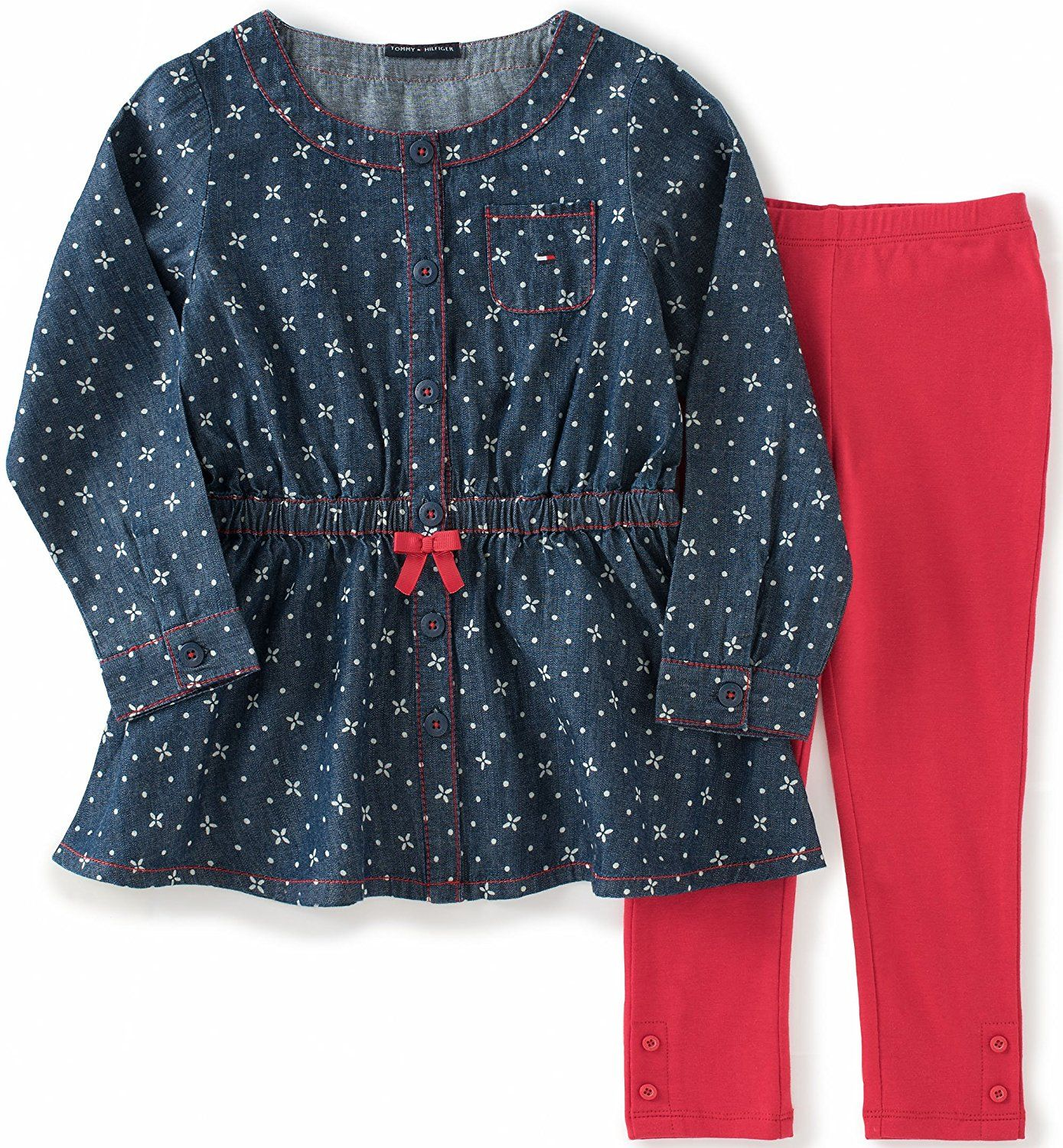 Tommy Hilfiger Baby Girls Dress Tunic with Leggings Set Trust me