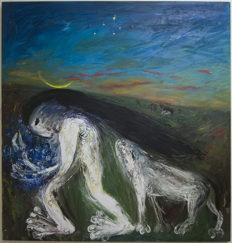 Nebuchadnezzar with Blue Flowers and White Dog by Arthur Boyd - depicts the king's madness from the book of Daniel