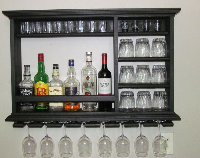 Mini bar black stain wine rack liquor cabinet for Mini bar de madera