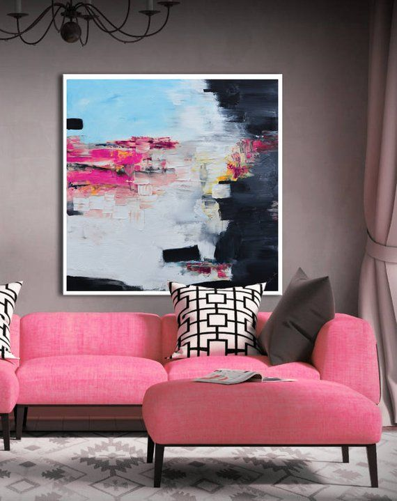 Contemporary Artwork Living Room Blue Color Designs Abstract Painting Print Pink White Giclee Square Colorful Modern Art Large Geome