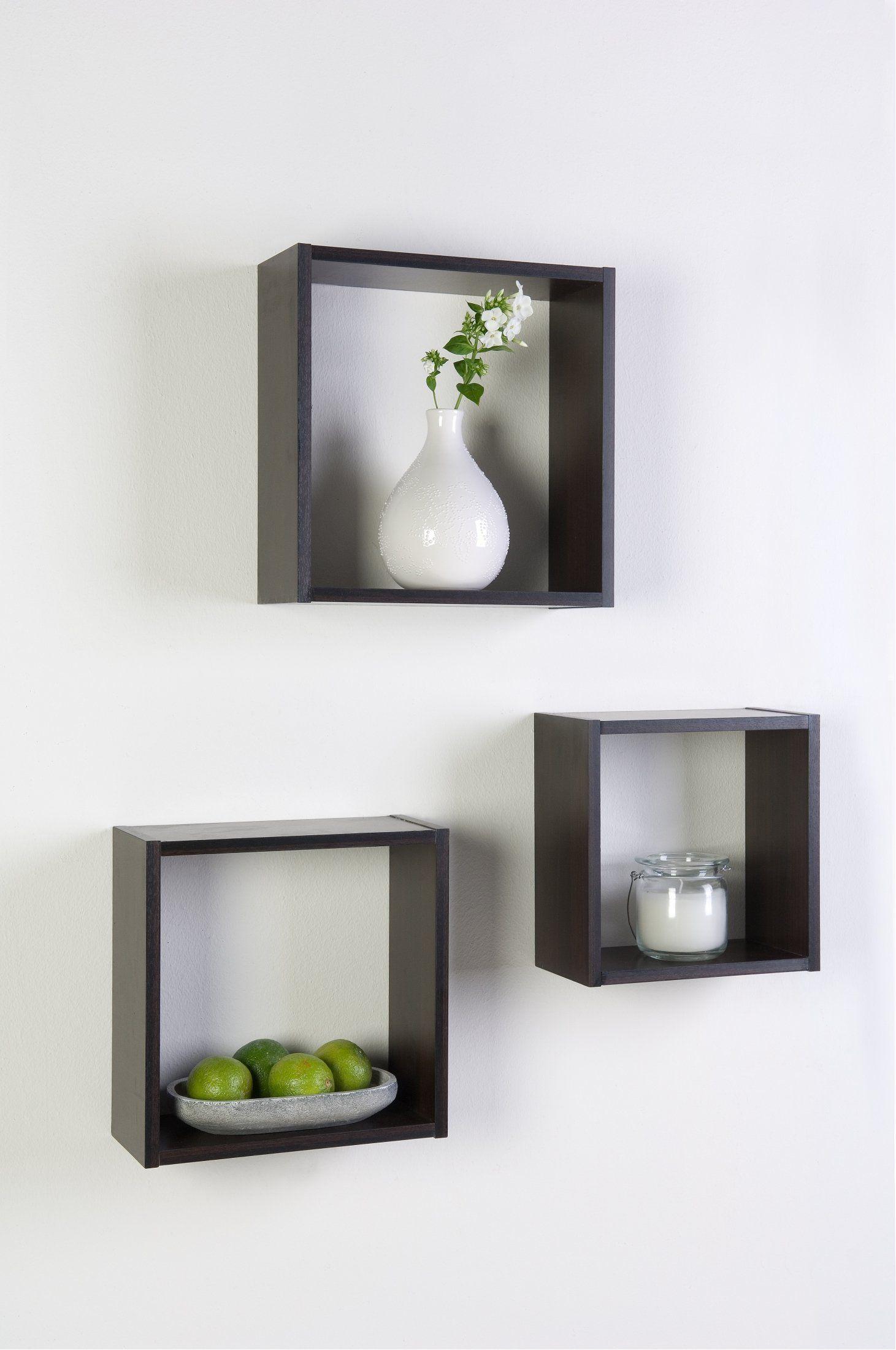 Mensole A Forma Di Cubo.Duraline 1127785 Gioco A 3 Cubi Mensola Decorativo Wenge