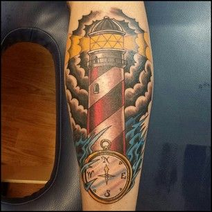 9cc1936ff1405 Yellow Lightning Lighthouse And Compass Tattoo | Tattoos | Tattoos ...