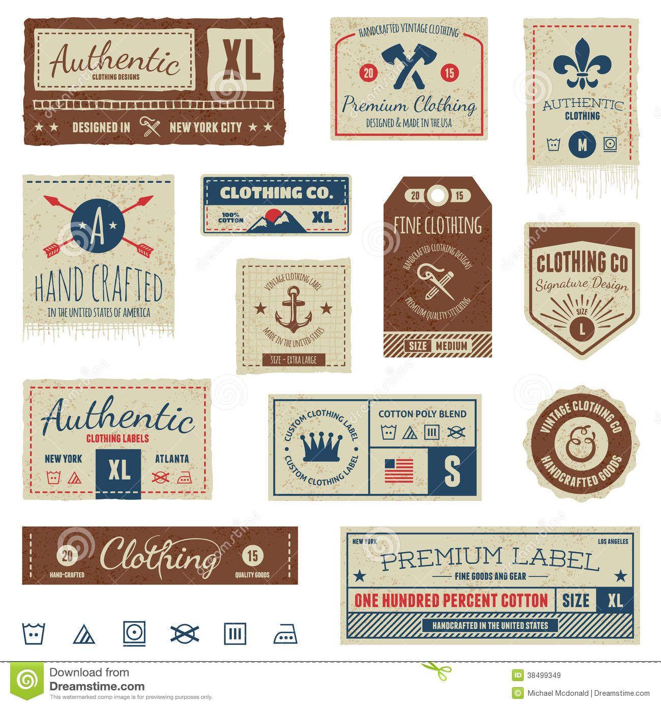 Vintage Clothing Labels Set Of Vintage Clothing Tags And Retro Labels Clothing Tags Vintage Outfits Woven Labels