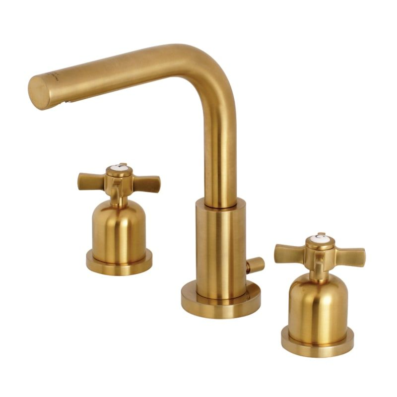 Kingston Brass Fsc8953zx Millennium 1 2 Gpm Build Com High Arc Bathroom Faucet Brass Bathroom Fixtures Widespread Bathroom Faucet Satin brass bathroom faucet