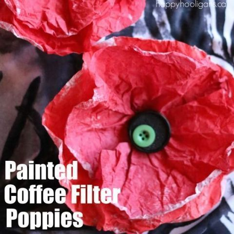 Painted Coffee Filter Poppy Craft #patriotsdaycraftsforkids Painted Coffee Filter Poppy Craft for Veterans Day #remembrancedaycraftsforkids