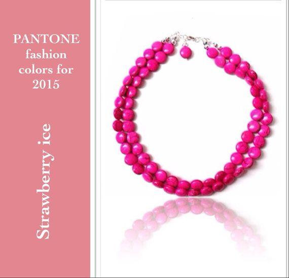 Pink necklace  pantone 2015 strawberry ice by BijouxDesignsStudio