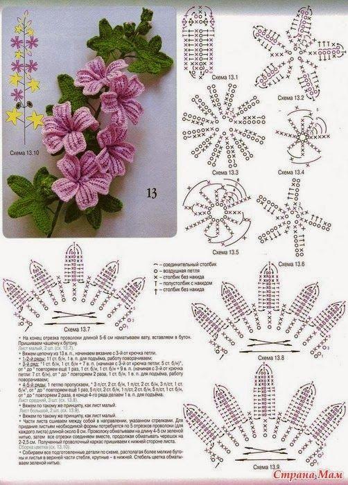 lo spazio di lilla Fiori all\u0027uncinetto, schemi gratuiti /Free crochet  flowers patterns