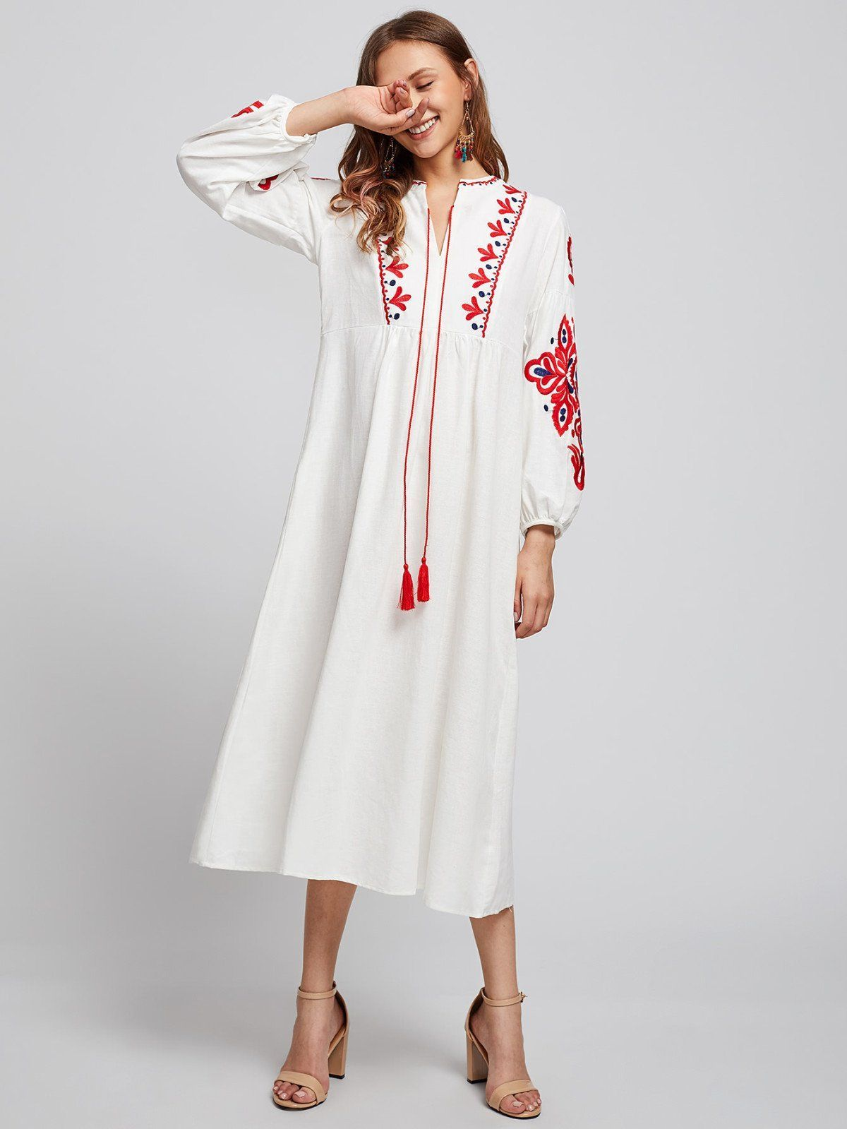 Dresses by borntowear embroidered lantern sleeve fringe dress