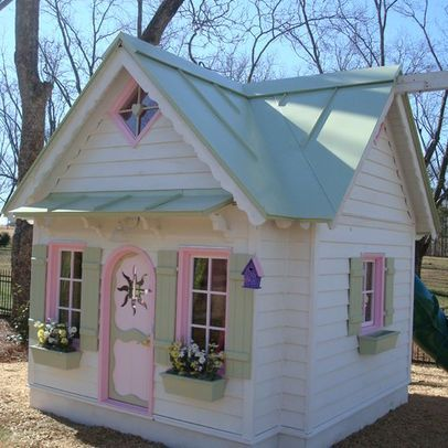 Cream pink green painted playhouse paint my playhouse for Wooden wendy house ideas