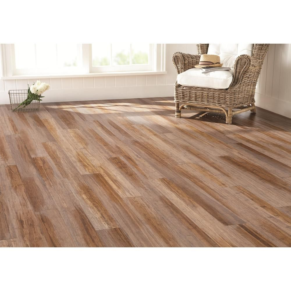 Home Decorators Collection Wire Brushed Strand Woven Sand 3 8 In T X 5 1 8 In W X 72 7 8 In L Engineered Click Bamboo Flooring Yy3001 Home Ideas In 2019