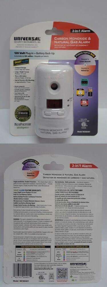 Carbon Monoxide Detectors 115943 Universal 2 In 1 Alarm Carbon Monoxide And Natural Gas White Mcnd401 Buy It Now Only 17 29 On Eba Carbon Monoxide Carbon