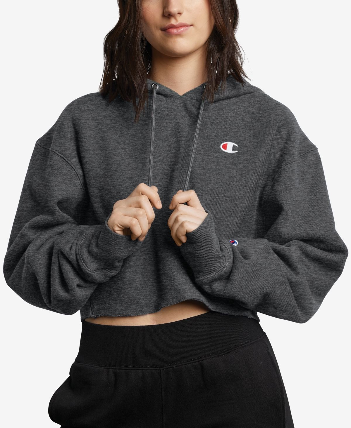 Champion Reverse Weave Cropped Hoodie Oxford Gray Cropped Hoodie Outfit Cropped Hoodie Champion Clothing [ 1466 x 1200 Pixel ]