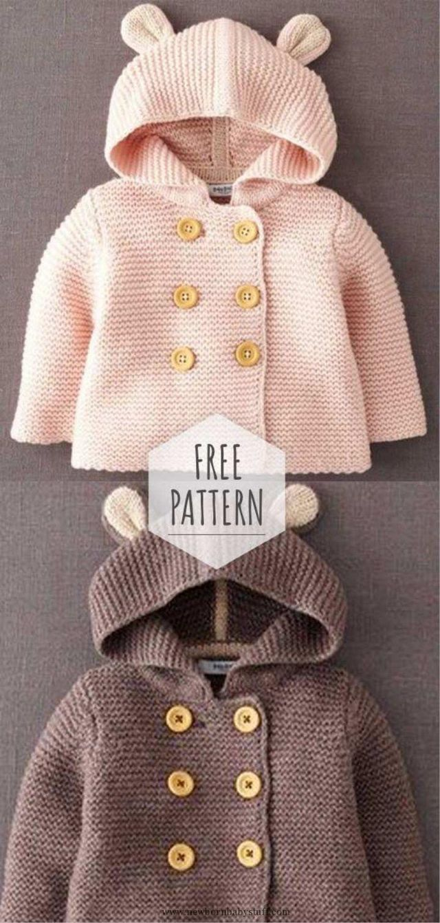 Photo of Baby Knitting Patterns Breasted Hooded Jacket Pattern… (NewBorn Baby Stuff)