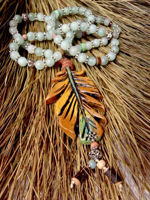 Feather Necklace with Amazonite by GPyoga on Etsy