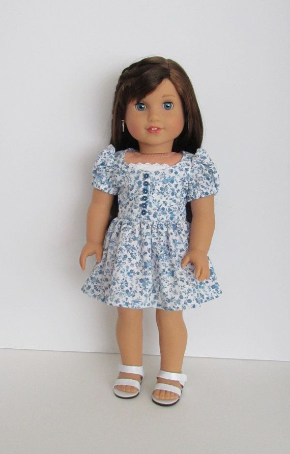 American Girl blue and white flowered print by MySewYouCreations ...