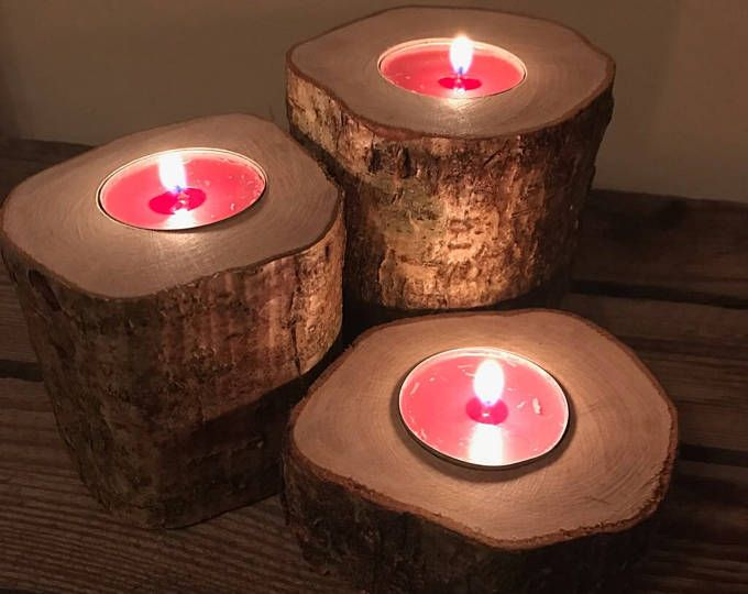 Wooden Tealight Holder -Set of 3