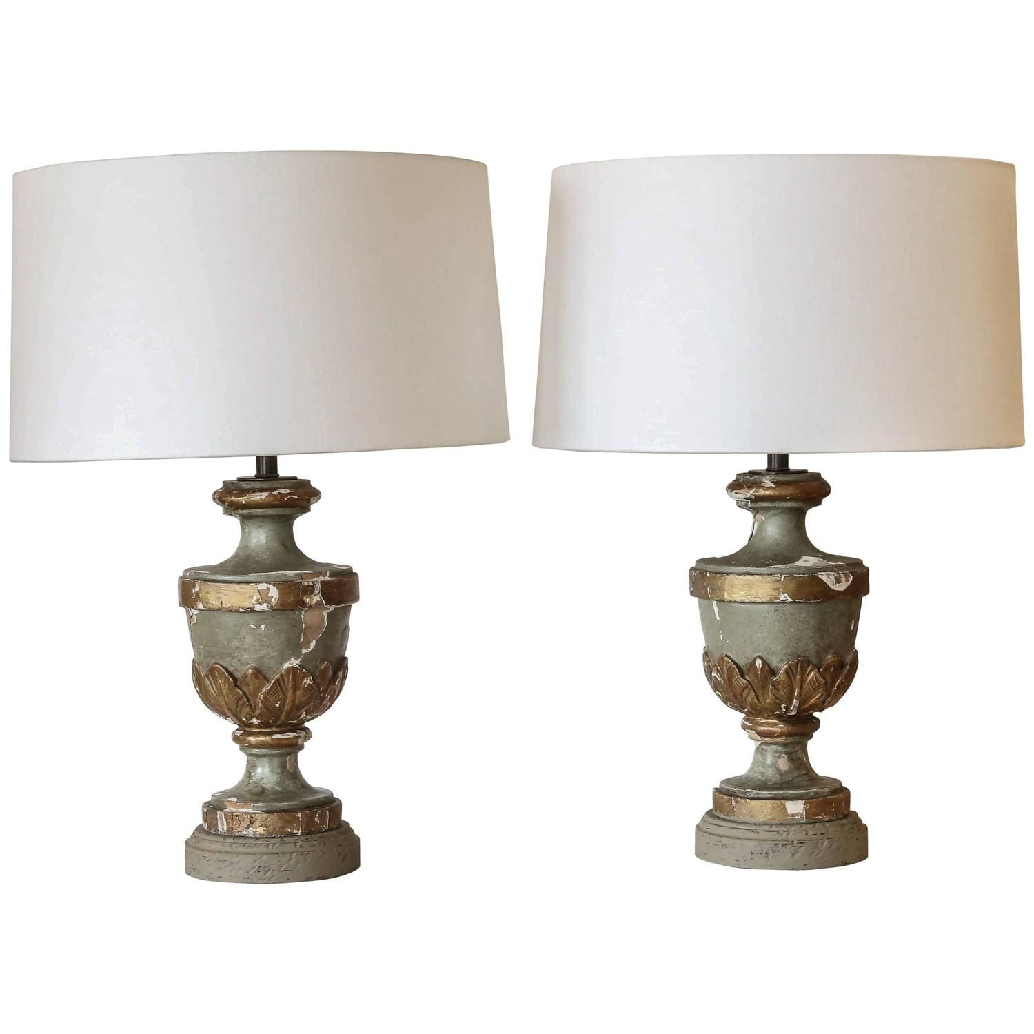 19th century painted and carved finials as custom table lamps 19th century painted and carved finials as custom table lamps aloadofball Choice Image