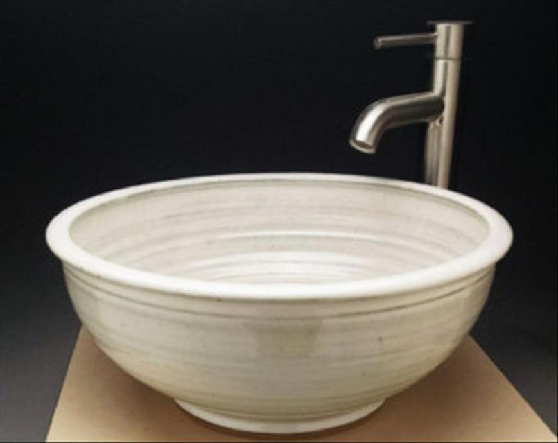 Bathroom Hemisphere Cream Modern Ceramic Sink With Silver Spigot - Bathroom sink spigots